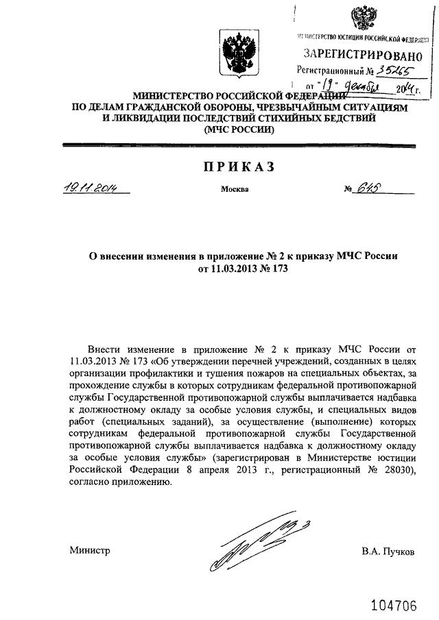 Приказ мчс россии 645.