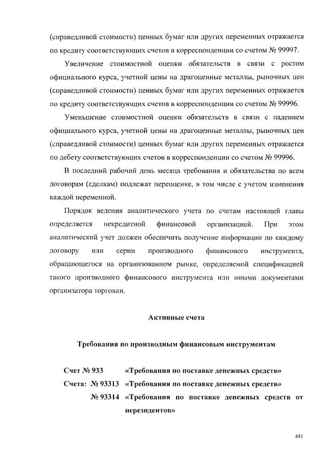 Счет банка требования по поставке производных финансовых инструментов