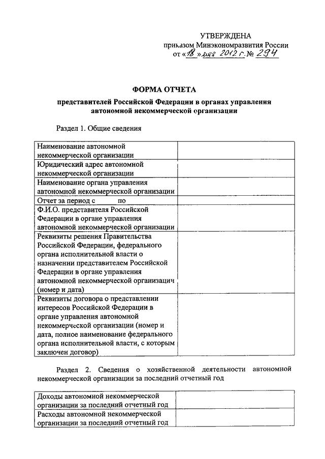 формы отчета о деятельности некоммерческой организации