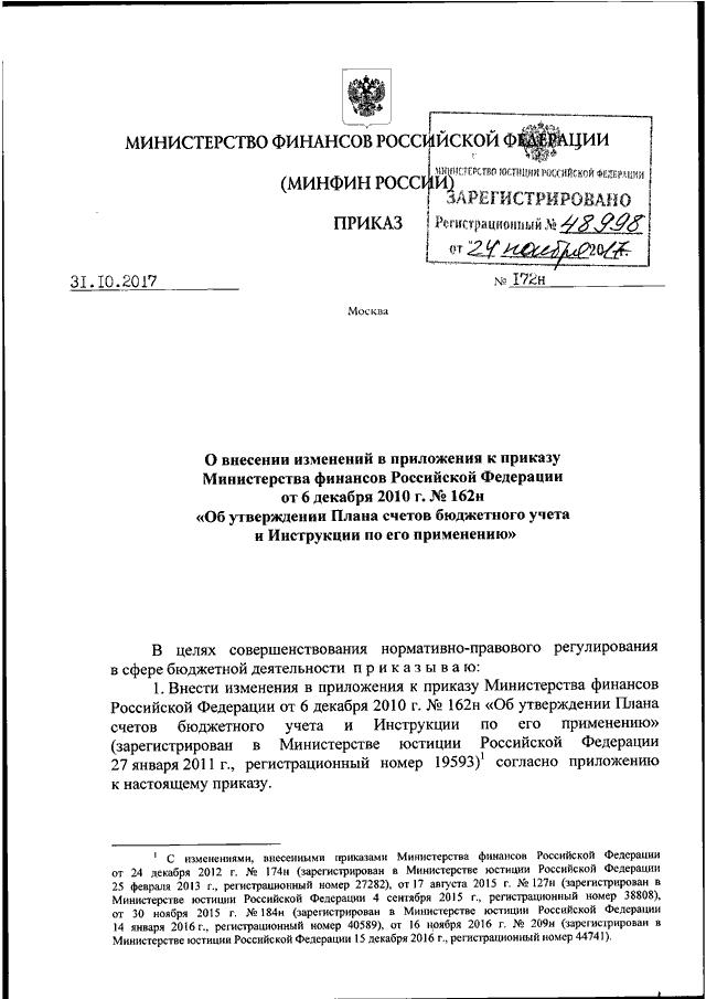 """Приказ минфина рф от 22. 09. 2016 n 162н """"о внесении изменений в."""
